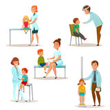 Kids Visit A Doctor Icon Set. Colored and isolated kids visit a doctor icon set with pediatrician and neurologist examine a patient vector illustration Stock Photography