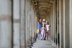Kids visiting Angkor Wat, Cambodia Royalty Free Stock Image