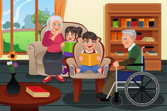 Kids Visiting a Retirement Home. A vector illustration kids visiting a retirement home and read stories to residents Royalty Free Stock Images
