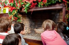 Kids waiting for Santa Royalty Free Stock Image