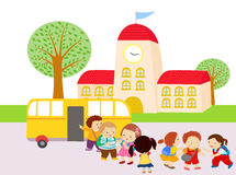 Kids Waiting to Get in the Bus. Illustration of Kids Waiting to Get in the Bus Stock Photo