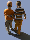 Kids walk clipping path. Kids walking away, clipping path included Royalty Free Stock Photography
