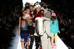 Kids walk the runway finale during Rookie USA Presents Kids Rock! Fall 2016. NEW YORK, NY - FEBRUARY 11: Kids walk the runway finale during Rookie USA Presents Stock Photography