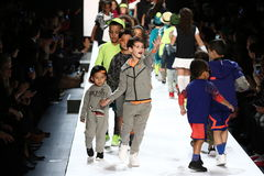 Kids walk the runway finale during Rookie USA Presents Kids Rock! Fall 2016. NEW YORK, NY - FEBRUARY 11: Kids walk the runway finale during Rookie USA Presents Stock Images