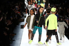Kids walk the runway finale during Rookie USA Presents Kids Rock! Fall 2016. NEW YORK, NY - FEBRUARY 11: Kids walk the runway finale during Rookie USA Presents Royalty Free Stock Image
