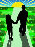 Kids walking. Kids silhouette keeping by hands and walking together Stock Images