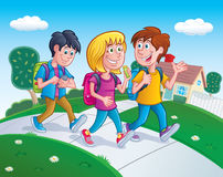Kids Walking Home From School Stock Photo