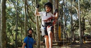 Kids walking on the logs 4k. Kids walking on the logs in the forest 4k stock video footage