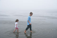Kids walking at low tide, foggy day Stock Images