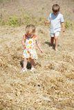 Kids walking on rural background Stock Photography