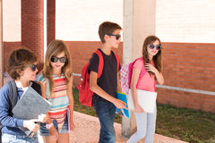 Kids walking at School Campus. Group of little kids walking at School Campus royalty free stock photography