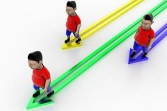 Kids Walking In Successive  Arrow Graph Royalty Free Stock Photos