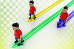 Kids Walking In Successive Arrows In Halftone Stock Photography