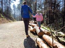 Kids walking on tree trunks stock image