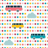 Kids wall paper design. Retro bus concept. Colored  background Stock Image