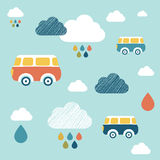 Kids wall paper pattern. Colored buses and clouds Royalty Free Stock Image