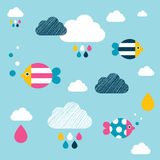 Kids wall paper pattern. Colored fishes and clouds Royalty Free Stock Photography