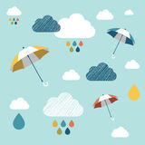 Kids wall paper pattern. Colored umbrellas and clouds Stock Photo