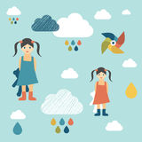 Kids wall paper pattern. Vector Stock Photo