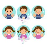 Kids washing and cleaning hands with bubbles soap at the washbasin vector illustration