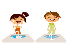 Kids washing face and hand Stock Photo