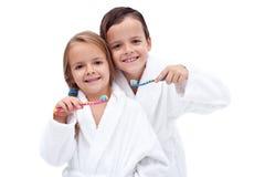 Kids Washing Teeth Royalty Free Stock Photos