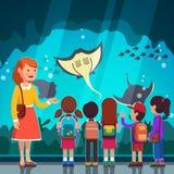 Kids watching crampfish at oceanarium excursion. Group of kids girls, boys watching crampfish at oceanarium aquarium excursion with woman teacher. School or stock illustration