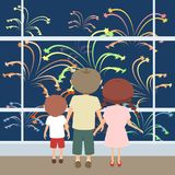 Kids watching fireworks vector cartoon. Kids watching fireworks through the window, vector cartoon illustration in flat style Royalty Free Stock Photography