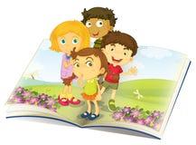 Kids watching flies. Illustration of kids watching flies in a garden Stock Photos