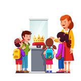 Kids watching golden crown at historical museum. Kids group girls, boys watching kings jeweled golden crown in glass showcase at historical museum excursion vector illustration