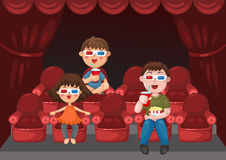 Kids watching a movie Royalty Free Stock Photos