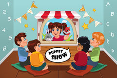 Kids Watching Puppet Show. A vector illustration of happy kids watching puppet show Royalty Free Stock Photo