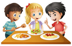 Kids watching the table with foods. Illustration of the kids watching the table with foods on a white background Royalty Free Stock Image