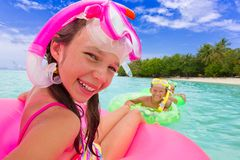 Kids in the water royalty free stock photography