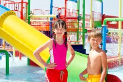 Kids at water park. A pair of young kids at a water park Stock Photography