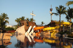 Kids water park with water slides in Dominican Republic, Punta C Royalty Free Stock Photos