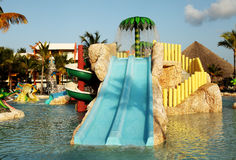 Kids water park with water slides in Dominican Republic, Punta C Royalty Free Stock Images