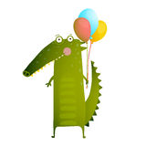 Kids Watercolor Style Crocodile with Balloons Colorful Cartoon Royalty Free Stock Photos