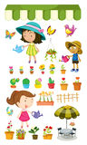Kids watering the plants Royalty Free Stock Image