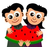 Kids with watermelon Stock Photos