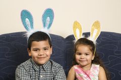 Kids wearing bunny ears. Stock Images