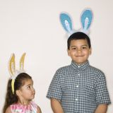 Kids wearing bunny ears. Stock Photo