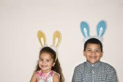Kids wearing bunny ears. stock photography