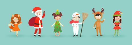 Kids wearing Christmas costumes. Funny and cute carnival kids set. Vector illustration stock illustration