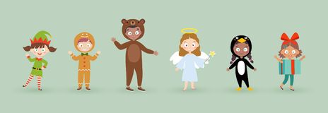 Kids wearing Christmas costumes. Funny and cute carnival kids set. Vector illustration vector illustration