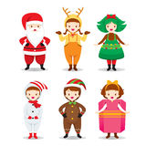 Kids Wearing Christmas Costumes Set royalty free illustration
