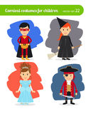 Kids wearing costumes. Superhero and fairy, witch and pirate Royalty Free Stock Photography