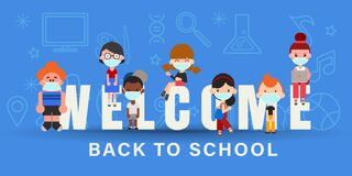 Kids wearing face mask during Covid-19 pandemic. Back to school banner illustration