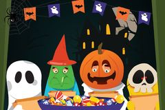 Kids Wearing Halloween Costumes Doing Trick or Treat. A vector illustration of  Kids Wearing Halloween Costumes Doing Trick or Treat Stock Images