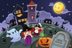 Kids Wearing Halloween Costumes Royalty Free Stock Photos